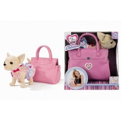 Chi Chi Love Собачка Чихуахуа в платье и с браслетом, в розовой  сумочке, 20 см 5895105