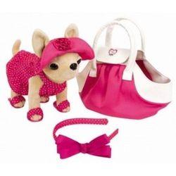 Chi Chi Love Плюшевая собачка в сумочке в розовом платье с ободком 5894229