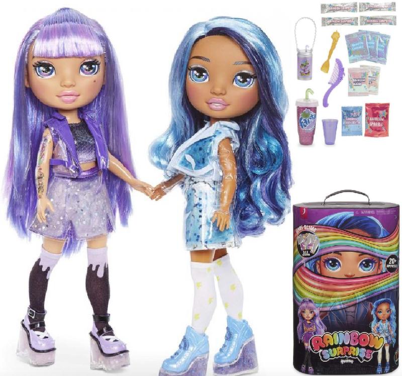 Кукла Пупси слайм фиолетовая/синяя Poopsie Rainbow Surprise  20 сюрпризов 561347