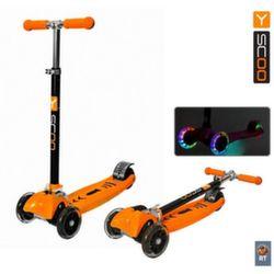 Самокат трехколесный Y-Scoo Maxi City Shine Gagarin  RT складной со светящимися колесами оранжевый