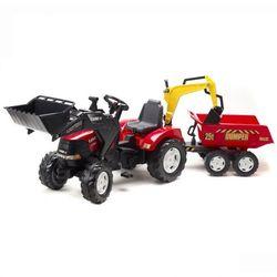 Трактор экскаватор педальный Falk с maxi прицепом красный FAL 995W