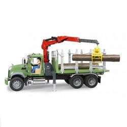 Лесовоз Mack с портативным краном и брёвнами Bruder 02-824