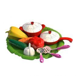 Игровой набор овощей и кухонной посуды Волшебная Хозяюшка 12 предметов на подносе Н-624