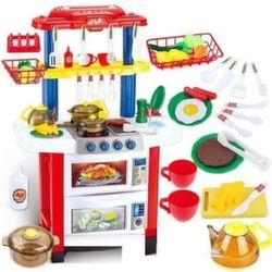 """Детская игровая кухня с водой 83 см """"Кухня как у мамы"""" 33 предмета 7116-1"""