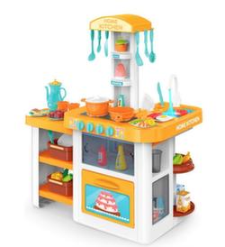 Детская кухня с водой 82 см, 55 предметов оранж 889-64