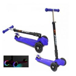 Самокат трехколесный 21st scooters складной SKL-07LC 21vek светящиеся колеса синий