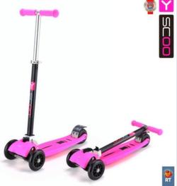 Самокат трехколесный Y-Scoo Maxi City SIMPLE RT складной розовый