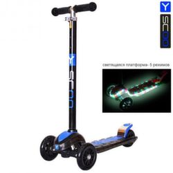 Самокат Y-Scoo Maxi Laser Show black/blue (платформа светится)