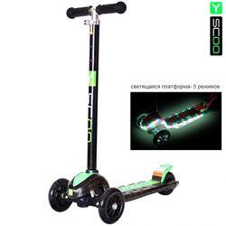 Самокат Y-Scoo Maxi Laser Show black/green (платформа светится)