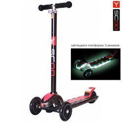 Самокат Y-Scoo Maxi Laser Show black/red (платформа светится)