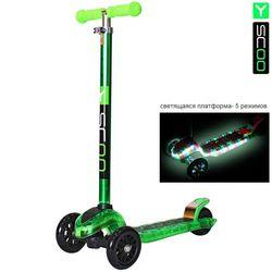 Самокат Y-Scoo Maxi Laser Show green metallic (платформа светится)