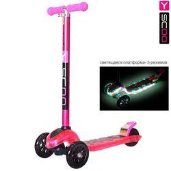 Самокат Y-Scoo Maxi Laser Show pink metallic (платформа светится)
