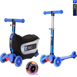 Каталка-самокат 3 в 1 Y-Scoo Mini Jump&Go dark blue со светящимися колесами