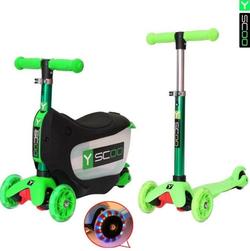 Каталка-самокат 3 в 1 Y-Scoo Mini Jump&Go green со светящимися колесами