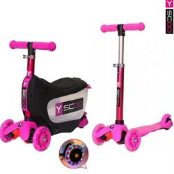 Каталка-самокат 3 в 1 Y-Scoo Mini Jump&Go pink со светящимися колесами 5851