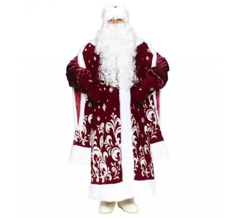 """Новогодний костюм Дед Мороз """"Боярский"""" (ДЖБ-1 Бордовый, красный)"""