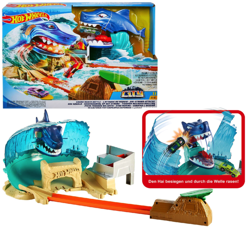 Хот Вилс Трек Сити Схватка с акулой Hot Wheels SHARK BEACH BATTLE FNB21
