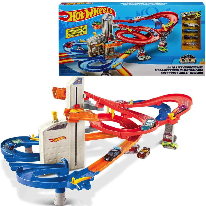 Игровой набор Хот Вилс Авто Лифт Hot Wheels + 5 машин FXN21