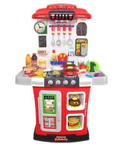 Игровая кухня с водой и вытяжкой 95 см, 36 предметов красная WD-R28